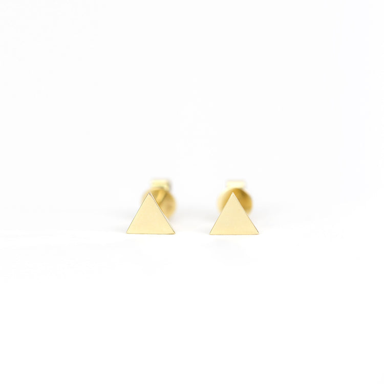 Golden Triangle Earrings by Atheria Jewelry