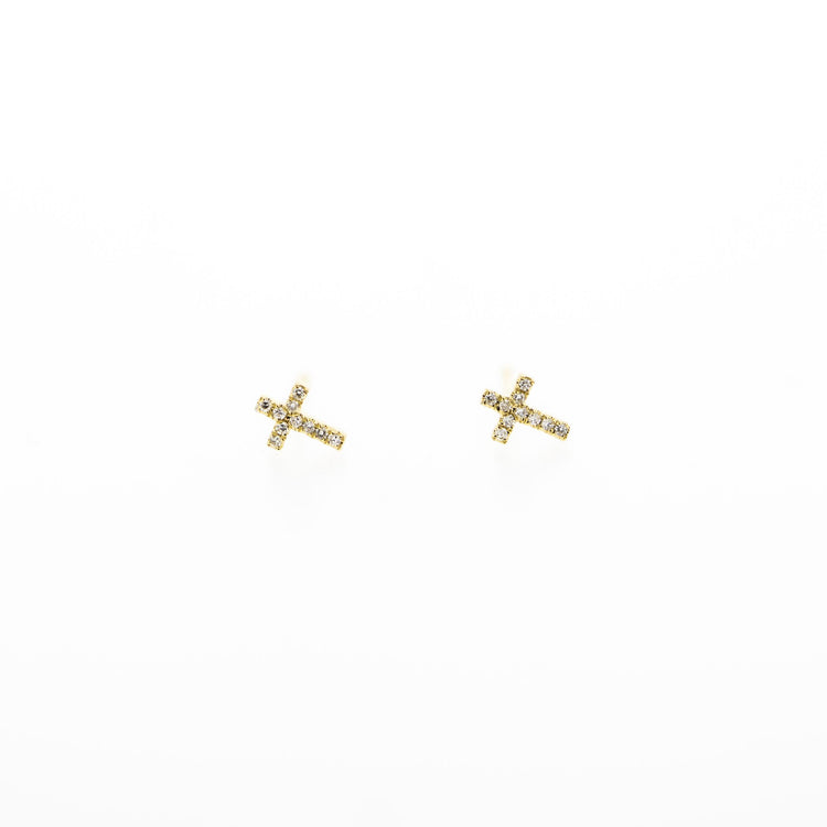 Grace Diamond Cross Earring Studs by Atheria Jewelry