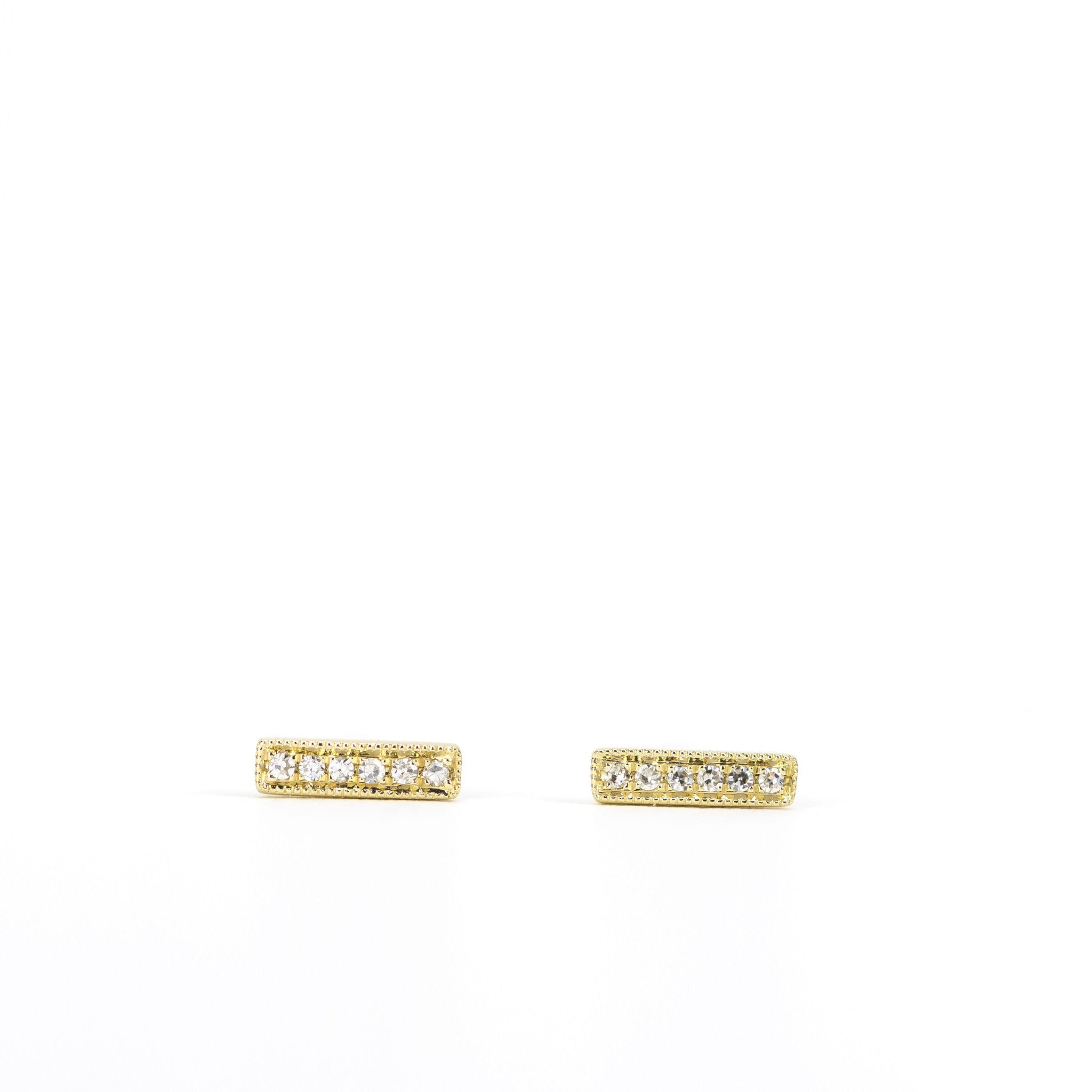 Petite Diamond Bar Earrings by Atheria Jewelry