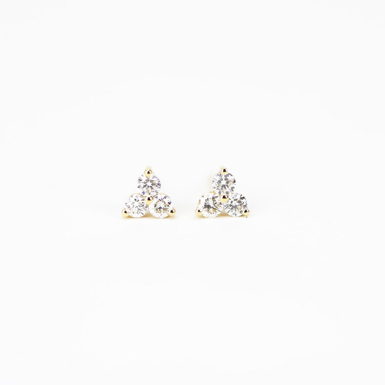 Three Stone Diamond Earrings by Atheria Jewelry
