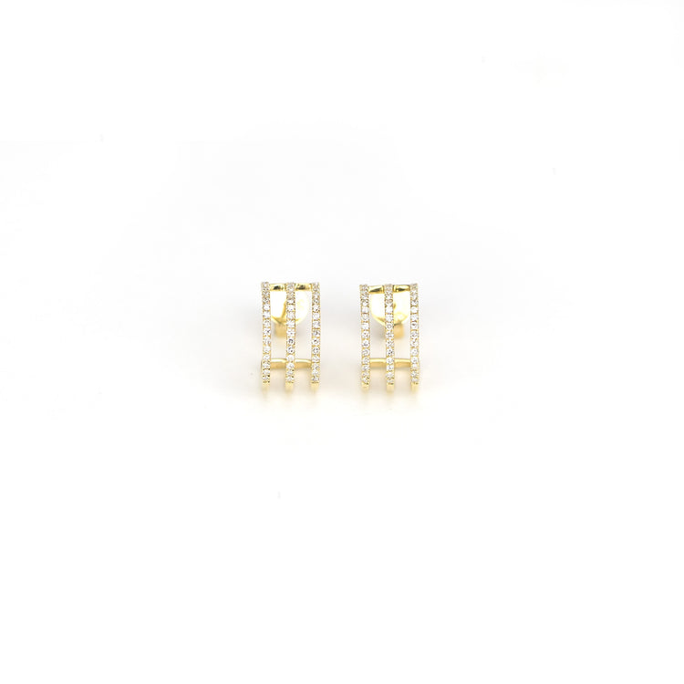 Tri Huggies Diamond Earrings by Atheria Jewelry