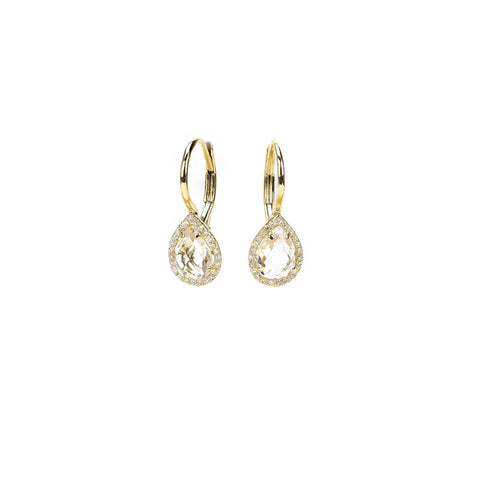 White Topaz Drop Earrings by Atheria Jewelry