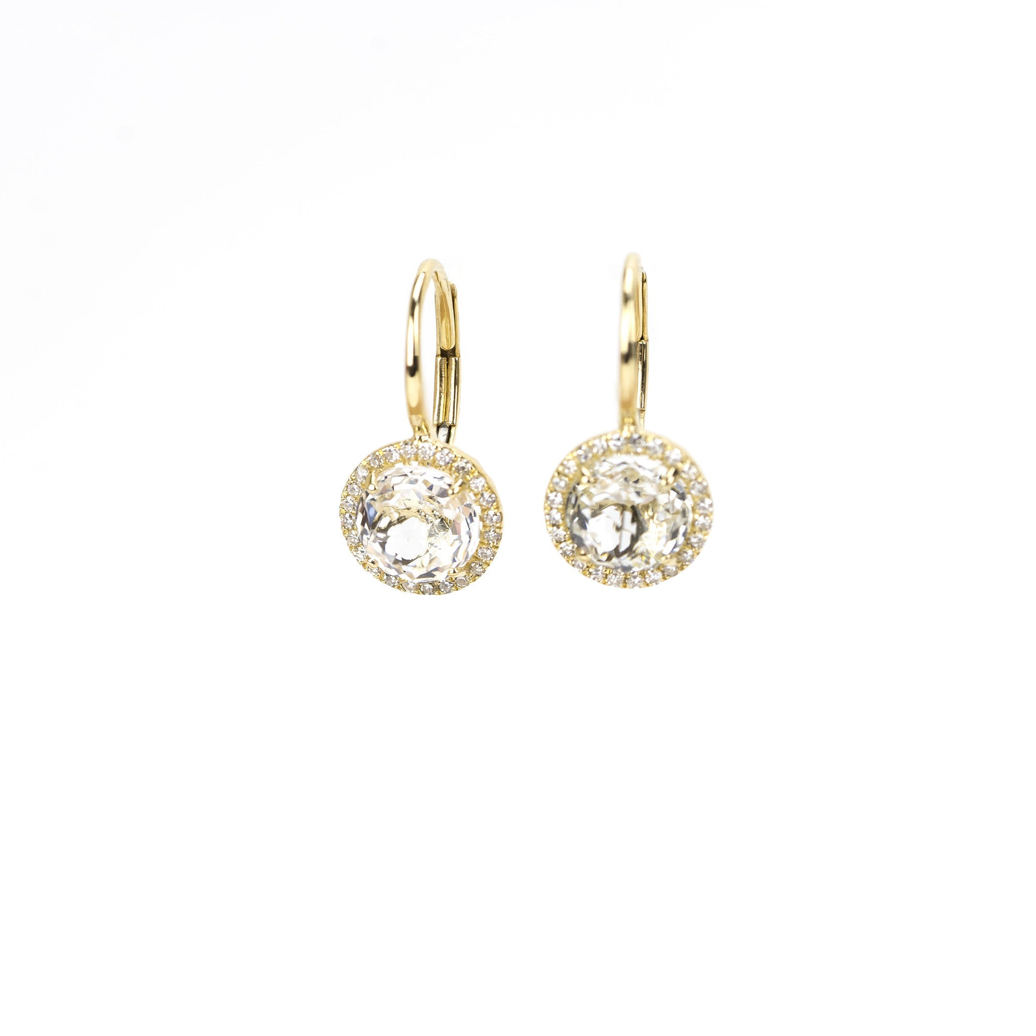 White Topaz Round Drop Earrings by Atheria Jewelry