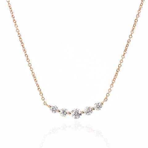 5 Stone Graduated Diamond Necklace by Atheria Jewelry