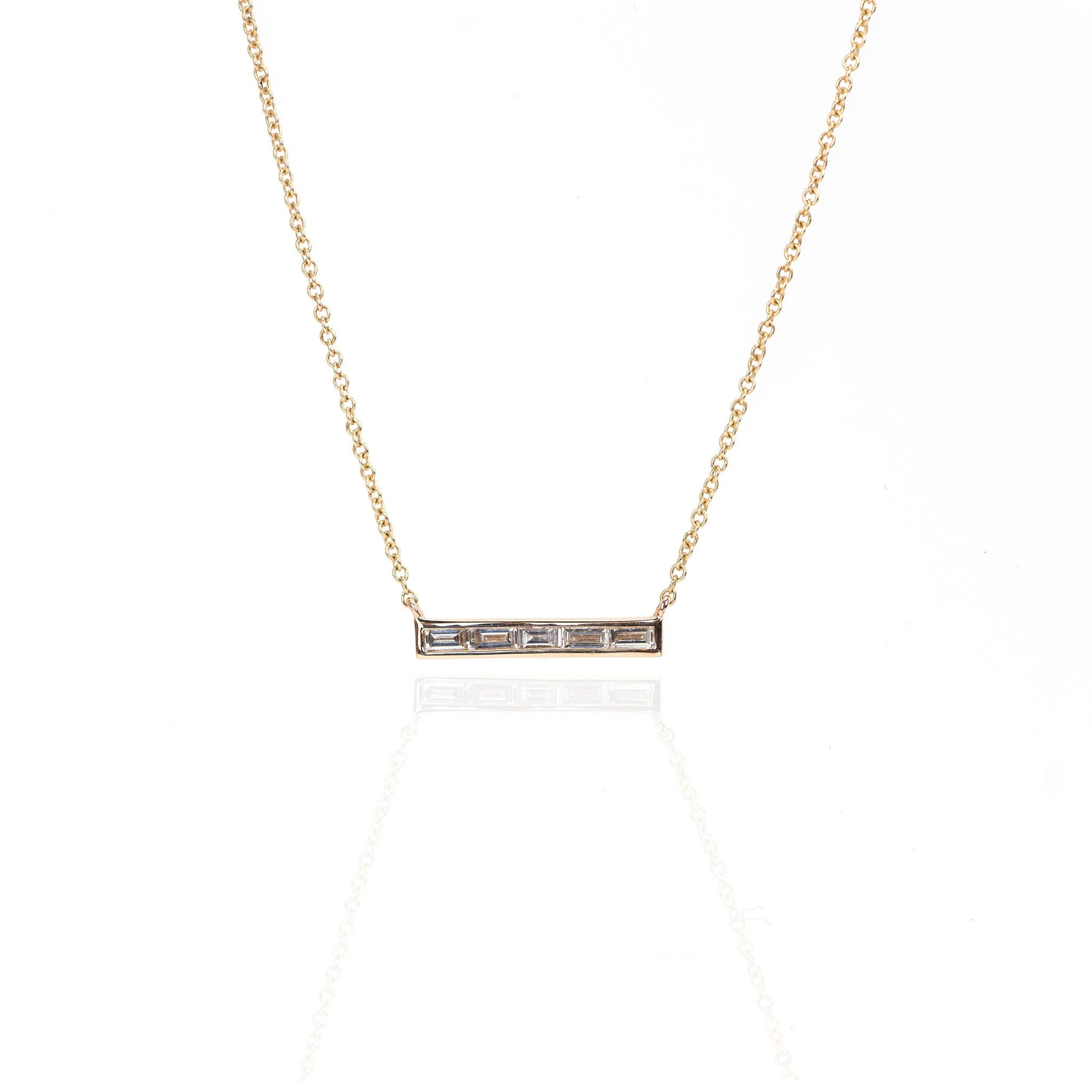 Baguette Diamond Bar Necklace by Atheria Jewelry