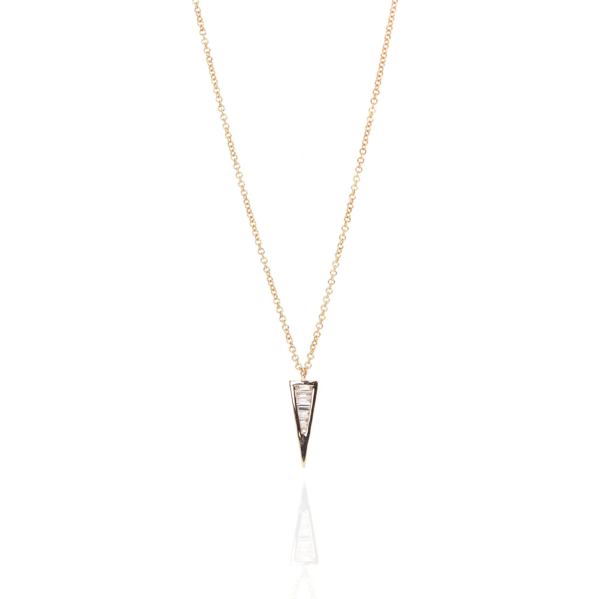 Baguette Diamond Triangle Necklace by Atheria Jewelry