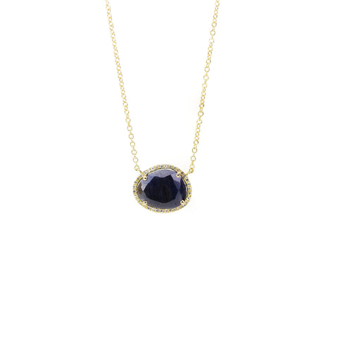 Blue Sapphire and Diamond Necklace by Atheria Jewelry