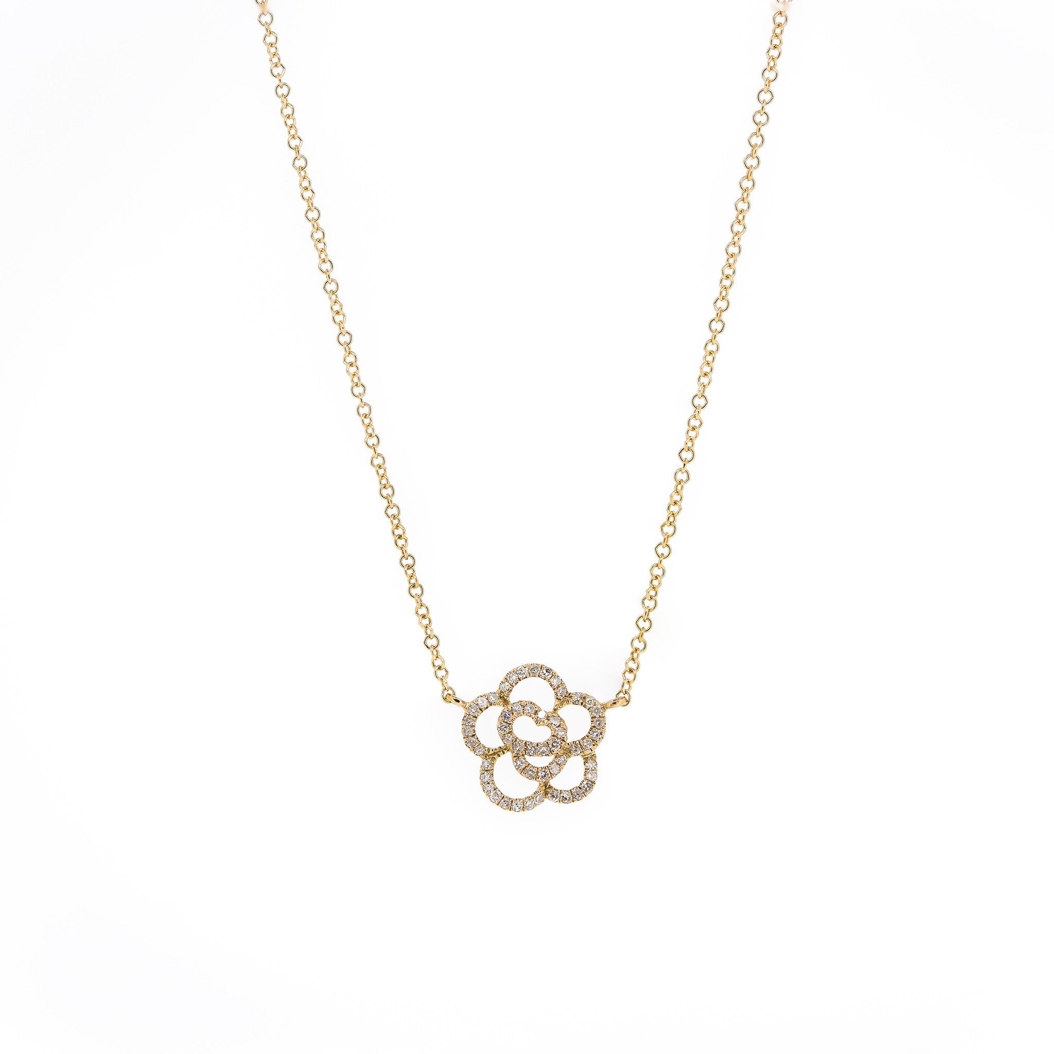 Camellia Diamond Flower Necklace by Atheria Jewelry