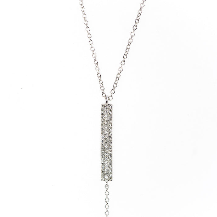 Diamond Bar Lariat Necklace by Atheria Jewelry
