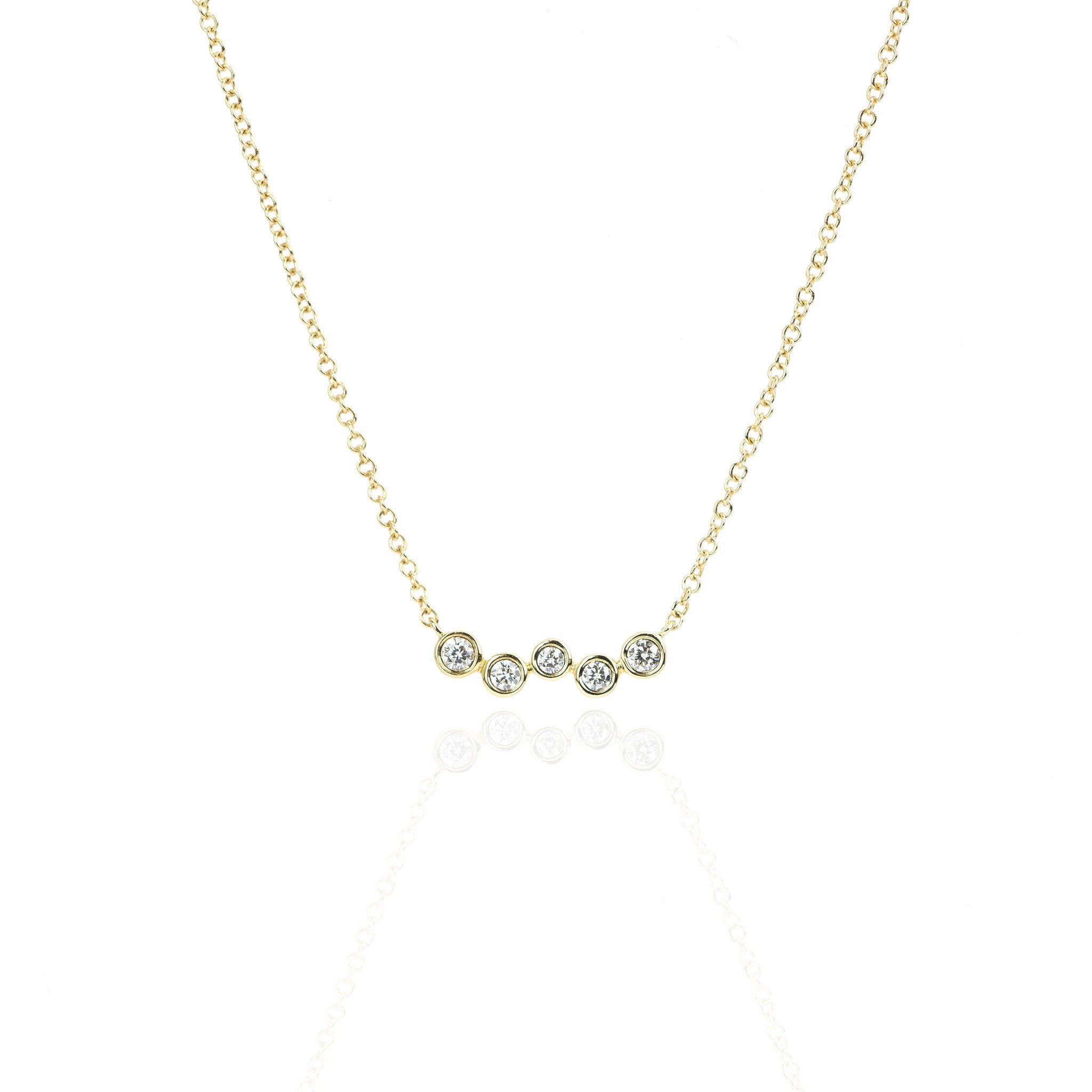 Diamond Bezel 5 Stone Necklace by Atheria Jewelry