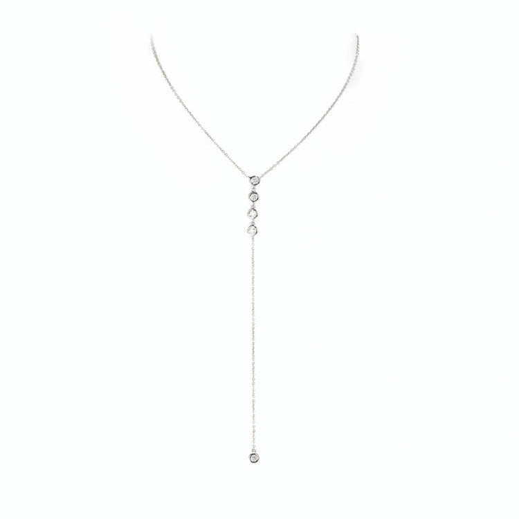 Diamond Bezel Lariat Necklace by Atheria Jewelry