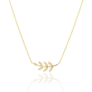 Diamond Leaf Necklace by Atheria Jewelry