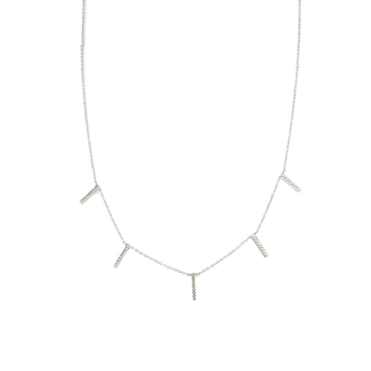 Diamond Mini Bars Necklace by Atheria Jewelry