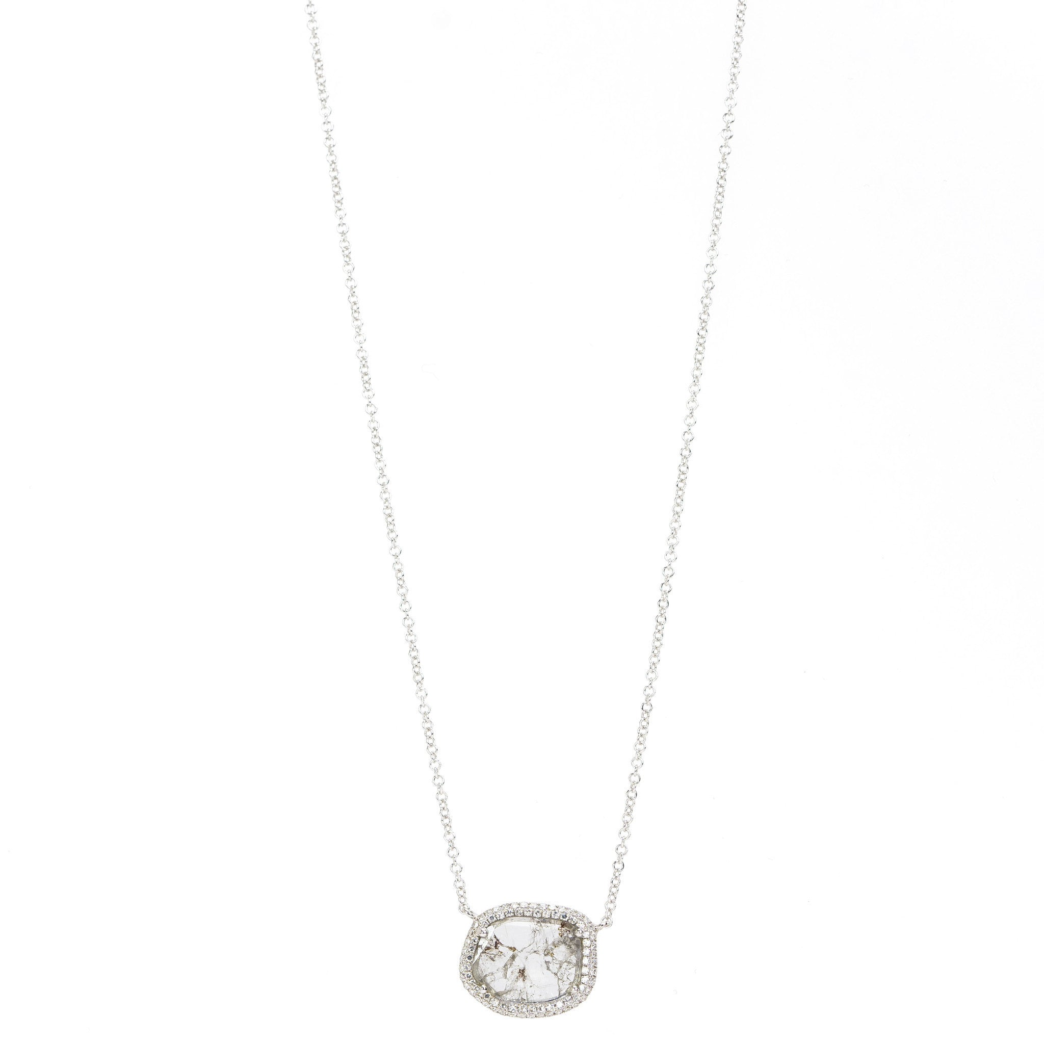 Diamond Slice Pendant with Pave Bezel Necklace by Atheria Jewelry