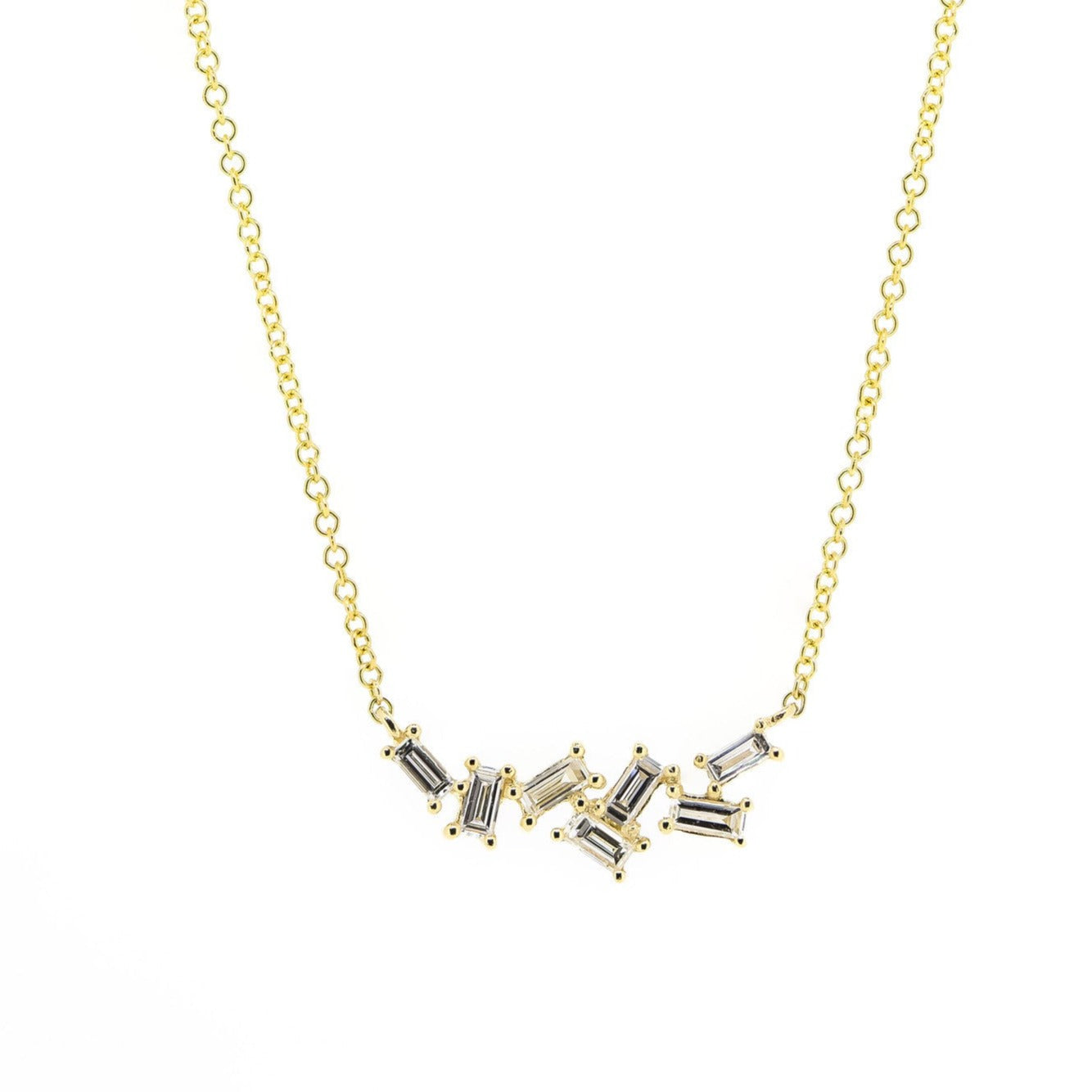 Multi Baguette Diamond Necklace by Atheria Jewelry