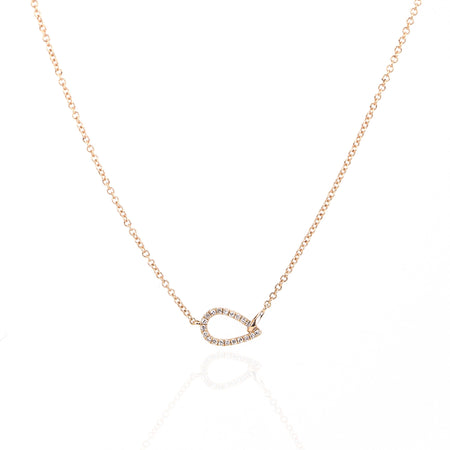 Open Teardrop Diamond Necklace by Atheria Jewelry