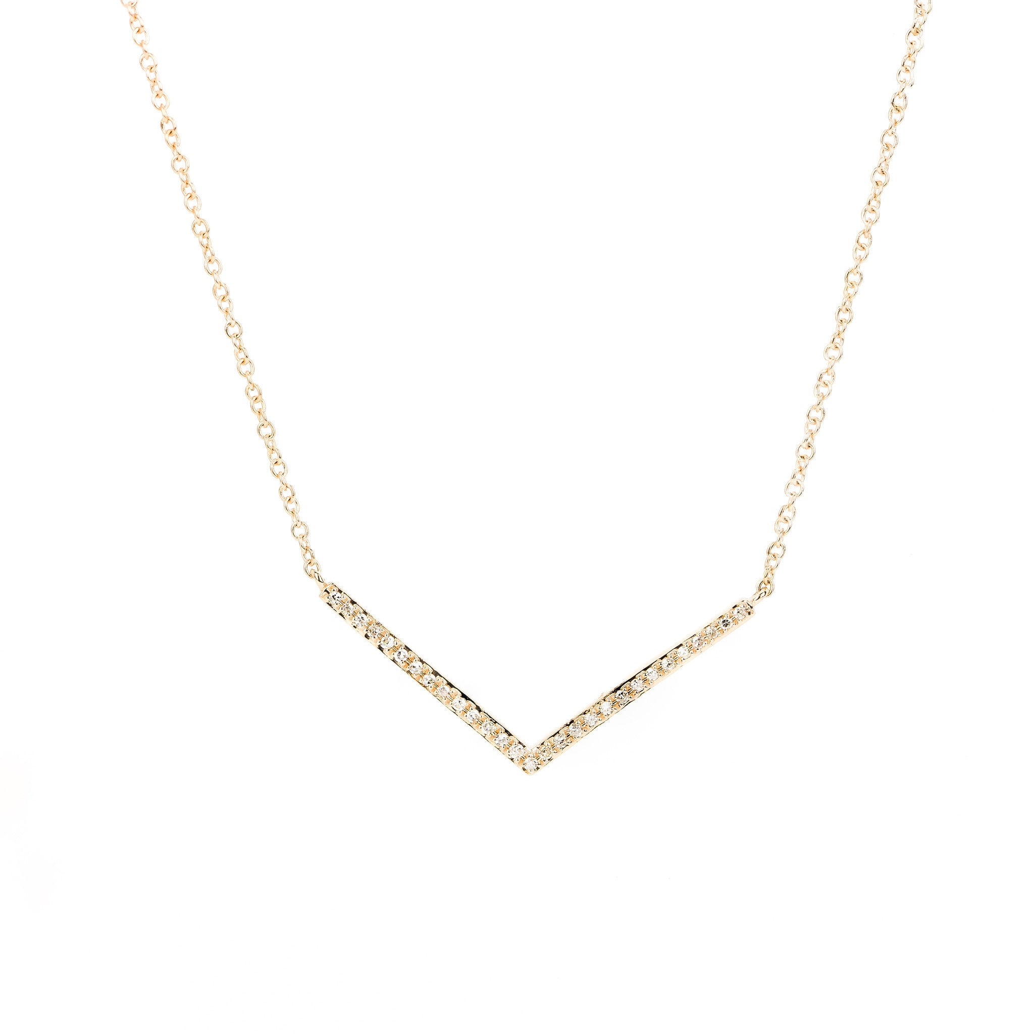 Petite Chevron Diamond Necklace by Atheria Jewelry