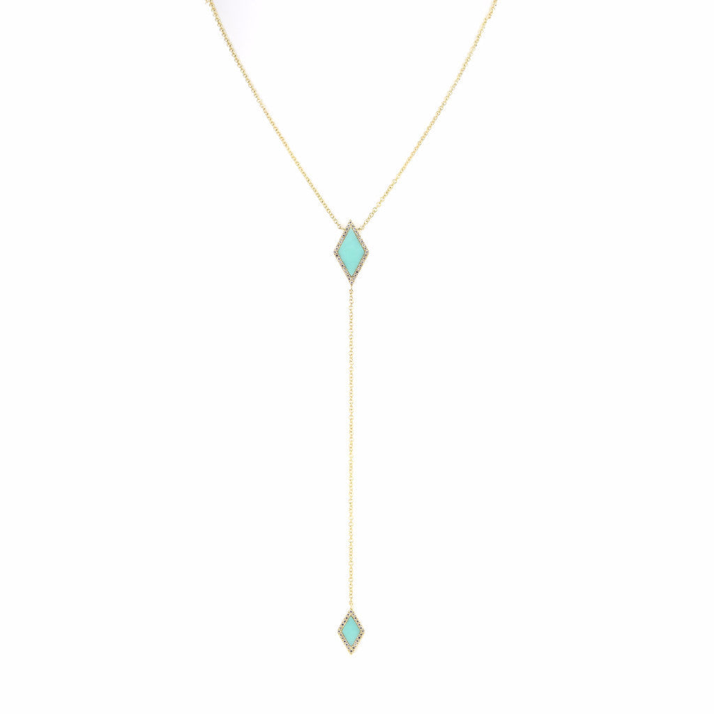 Turquoise and Diamond Lariat Necklace by Atheria Jewelry