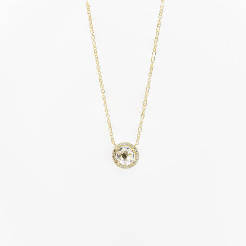 White Topaz Halo Necklace by Atheria Jewelry