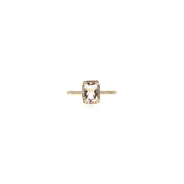 Aubrey Morganite Rectangle Ring by Atheria Jewelry