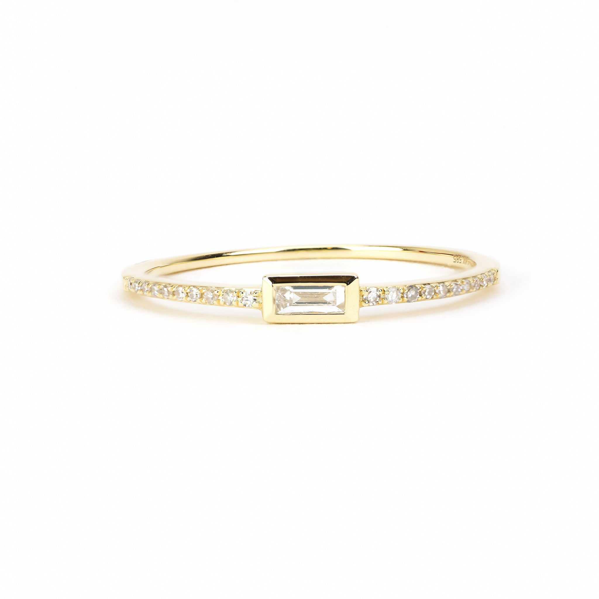 in wedding gold diamond stone tw rings baguette white band
