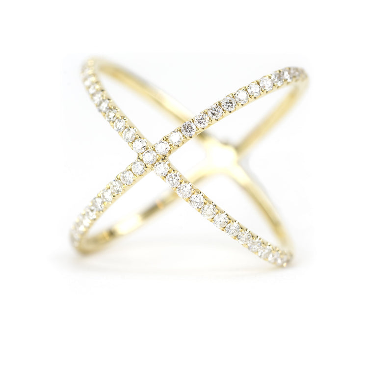 Diamond X Ring by Atheria Jewelry