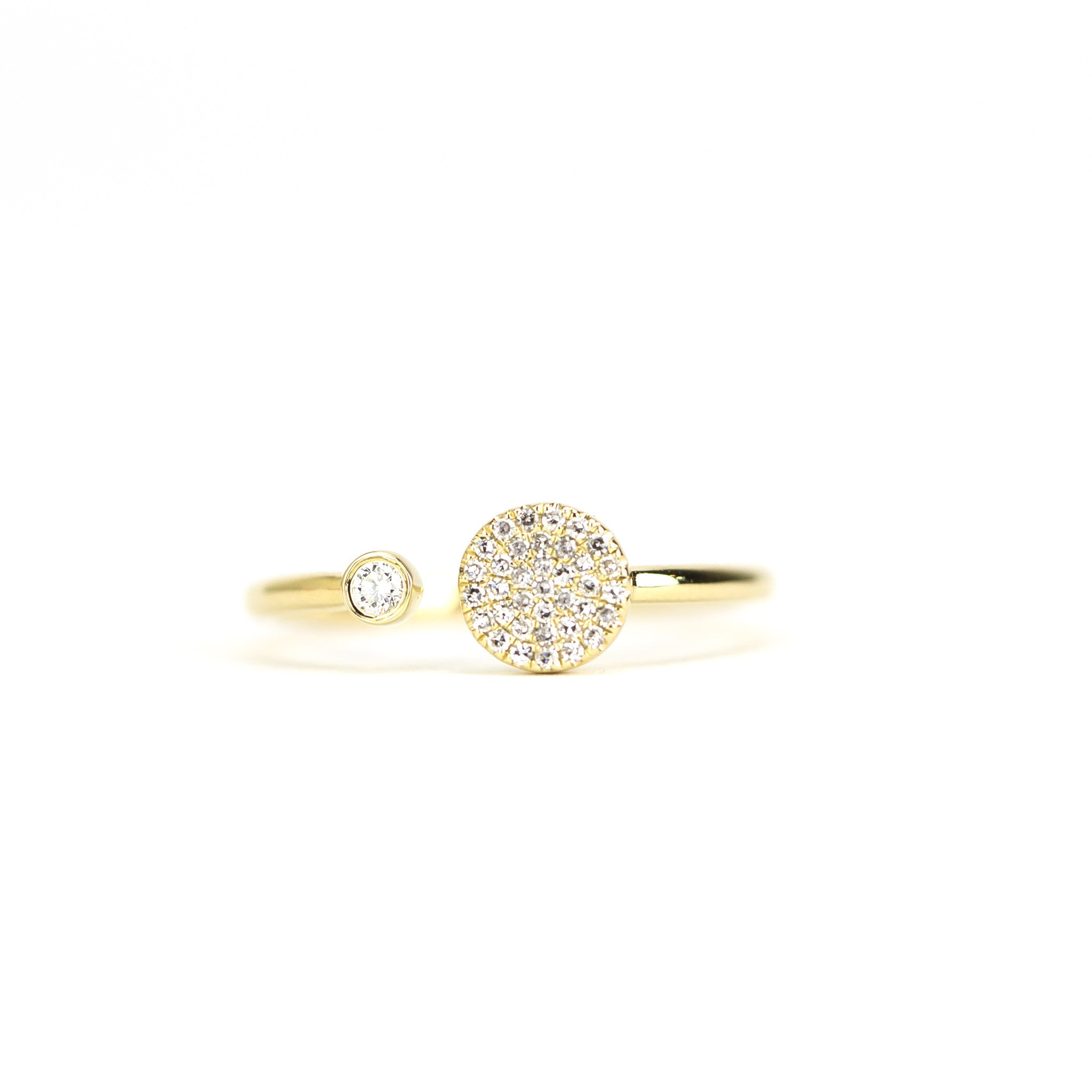Duo Disc Ring with Bezel Set Diamond by Atheria Jewelry
