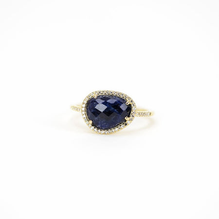 Faceted Blue Sapphire Ring by Atheria Jewelry