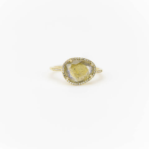 Faceted Labradorite and Diamond Ring by Atheria Jewelry
