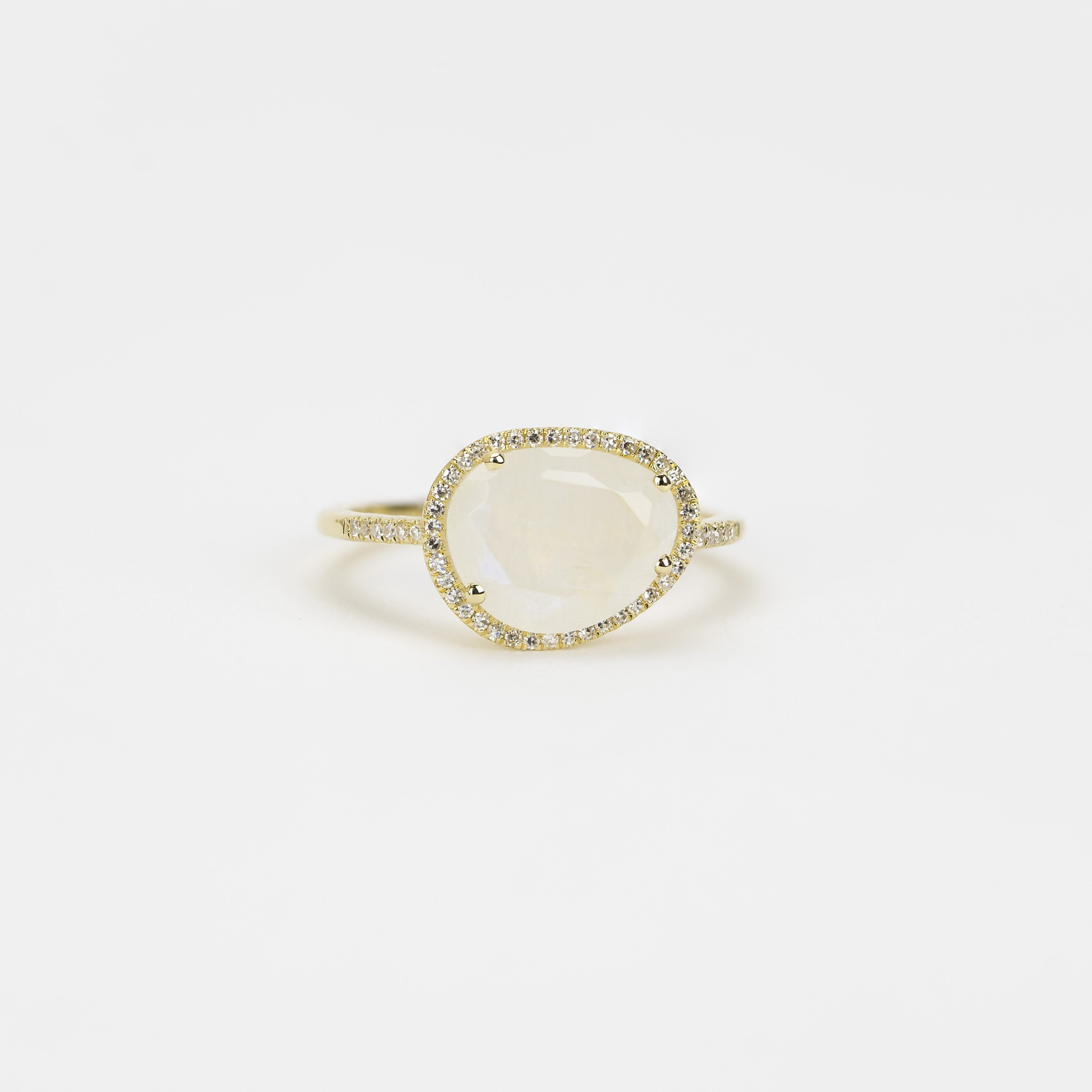 Faceted Moonstone and Diamond Ring by Atheria Jewelry