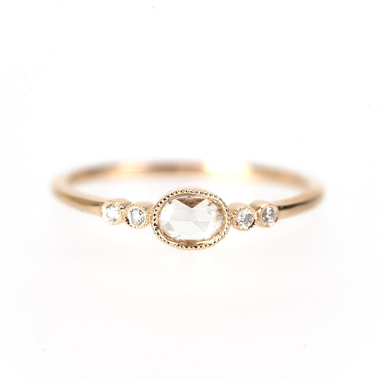 Oval Rose Cut Diamond Ring by Atheria Jewelry
