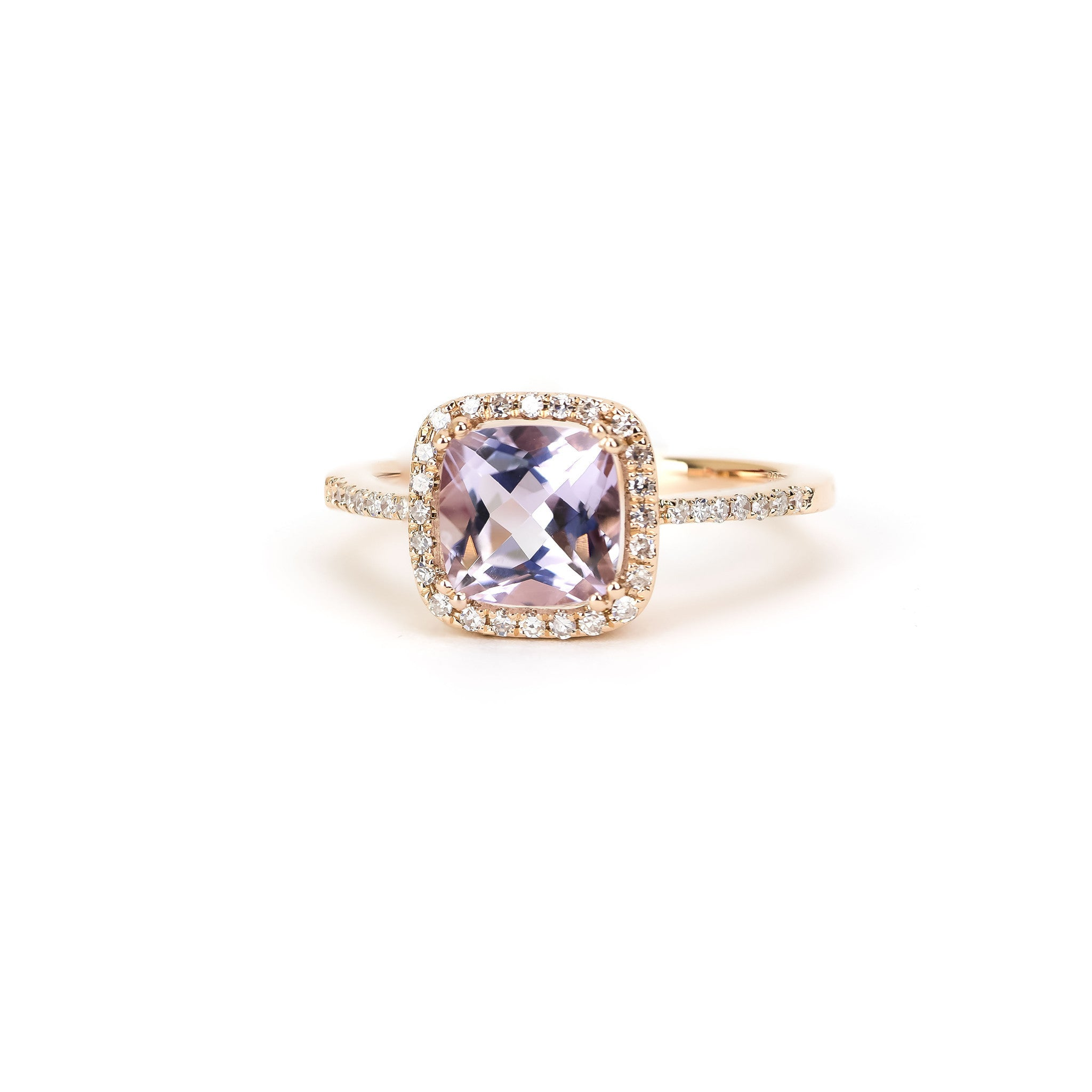 Pink Amethyst and Diamond Ring by Atheria Jewelry