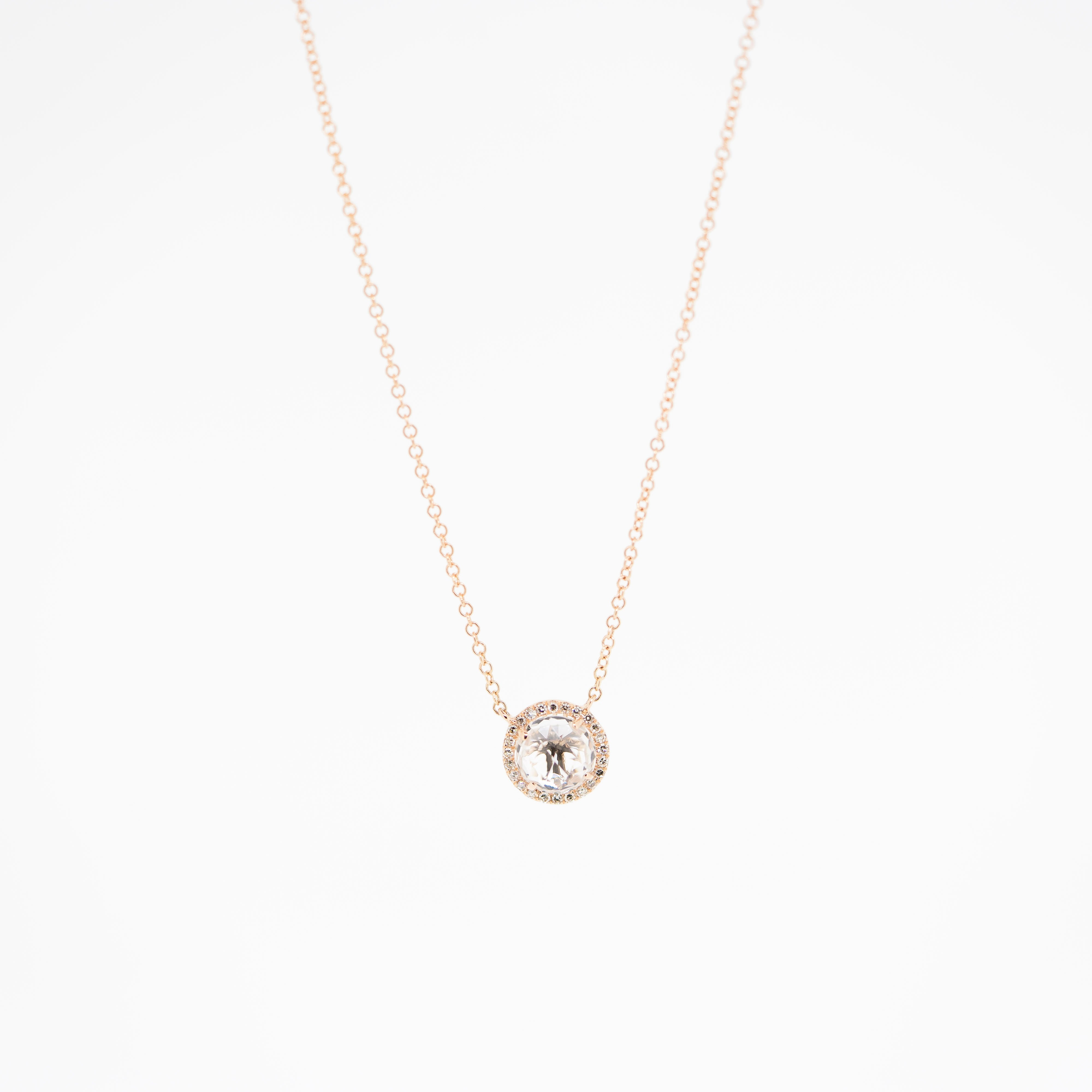 White Topaz Halo Necklace in Rose Gold