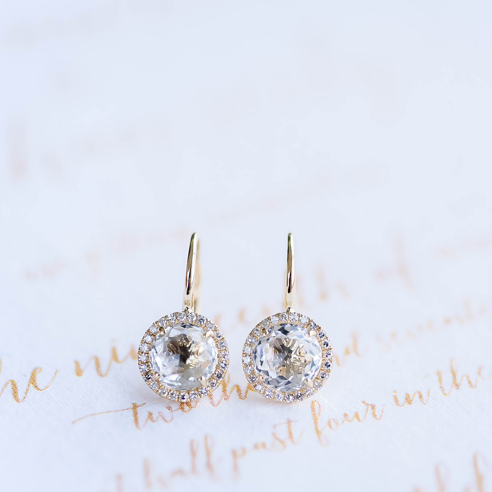 White Topaz Round Drop Earrings