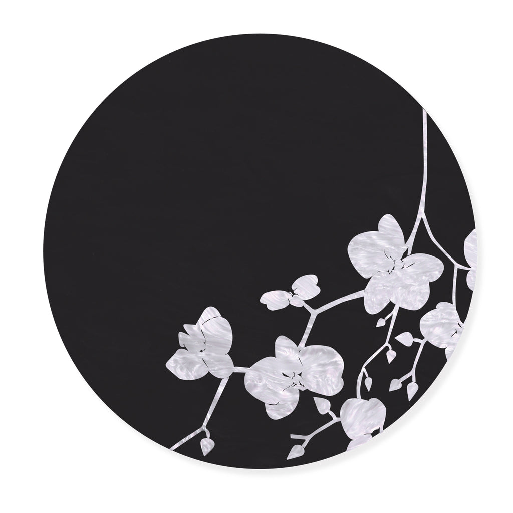 Black & White Cherry Blossom Leaf Placemat- SET OF 4