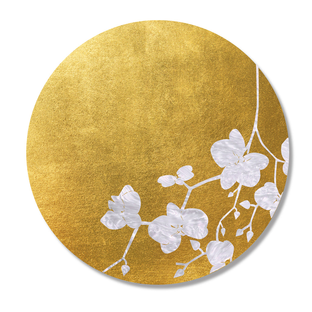 Gold & White Cherry Blossom Leaf Placemat- SET OF 4