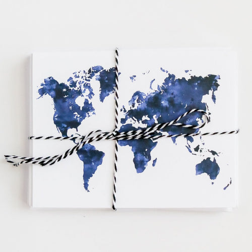 Watercolor World Map Note Cards