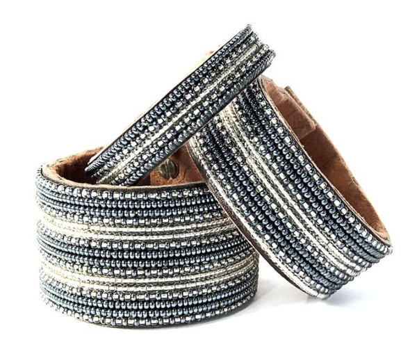 Stripes Silver/Slate Beaded Leather Cuff