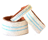 Dashes Light Blue Beaded Leather Cuff