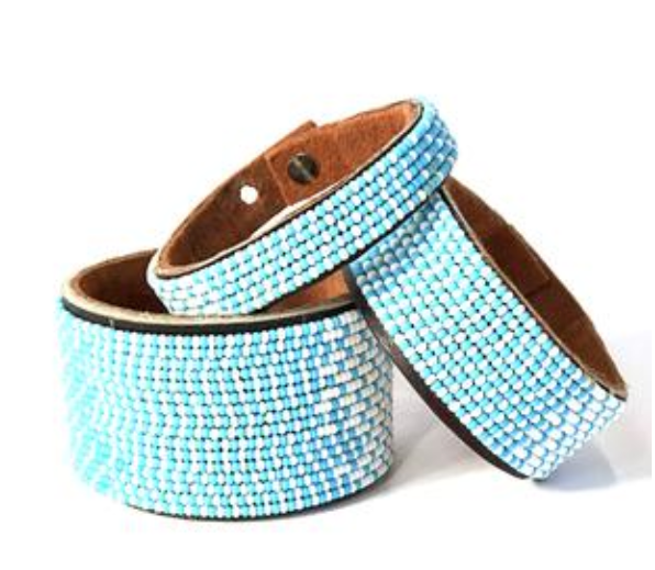 Ombre Blue/White Beaded Leather Cuff