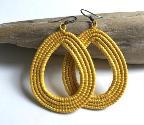 Yellow Woven Loop Earrings