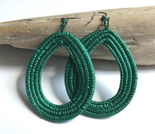 Green Woven Loop Earrings