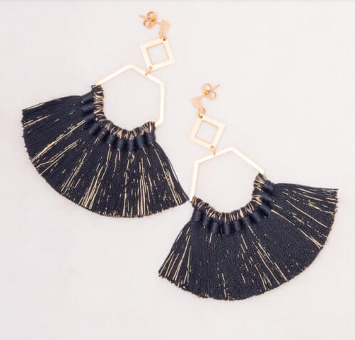 Ava Black Tassel Earrings