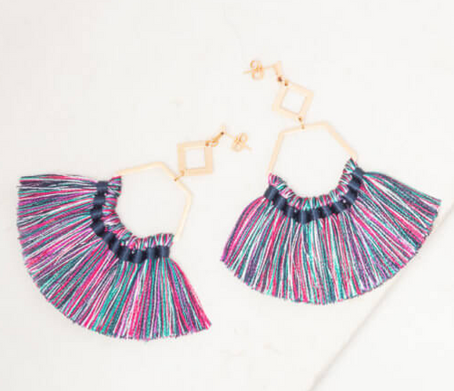 Ava Peacock Tassel Earrings