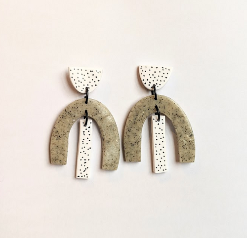 Granite & Peppered Statement Earrings