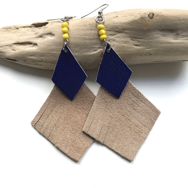 Tan + Navy Leather Fan Earrings