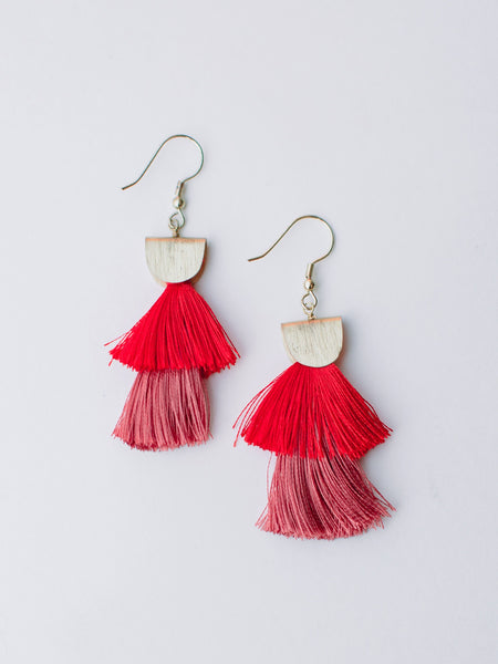 Cozumel Red Tassel Earrings