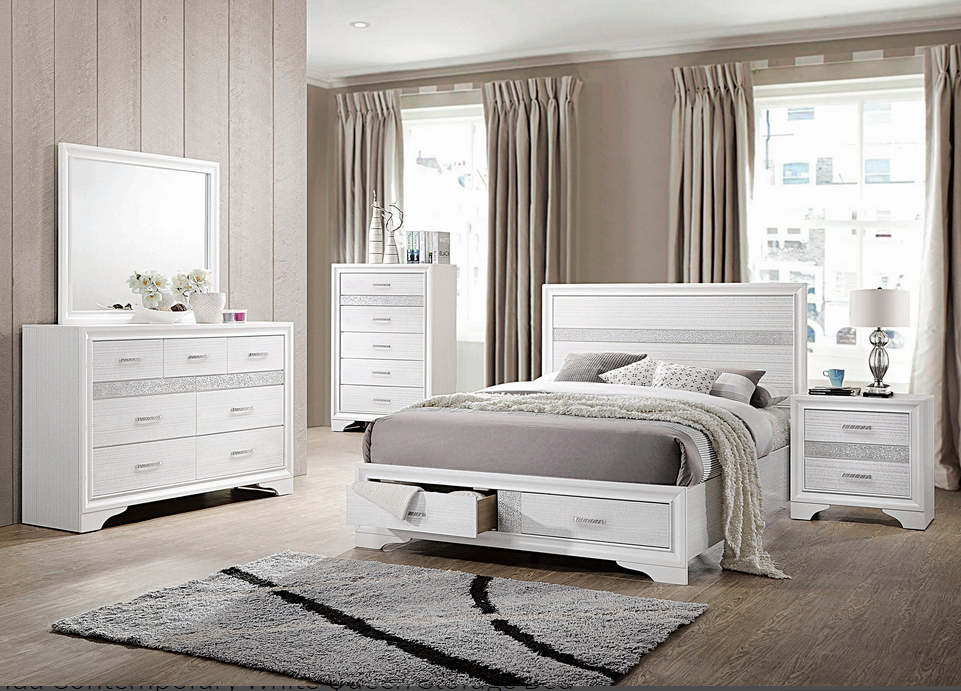 COA205111 Miranda Contemporary White Queen Storage Bed