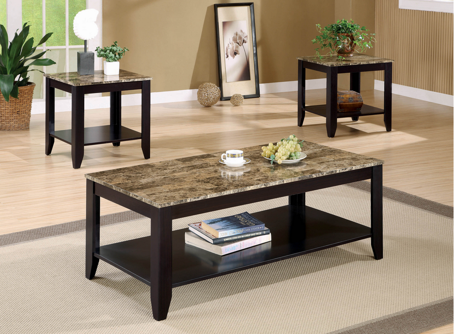 COA700155 Transitional Marble Look Top Three-Piece Table Set