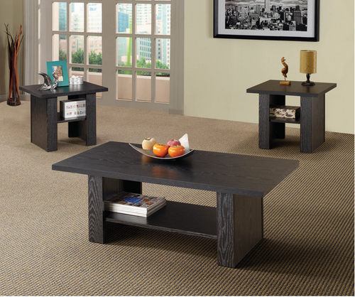 XCOA700345 Contemporary Black Oak Three-Piece Table Set